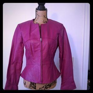 Leather Jacket Fushia